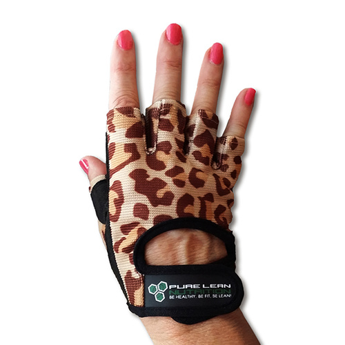 Womens Gym Gloves - Leopard Design-small